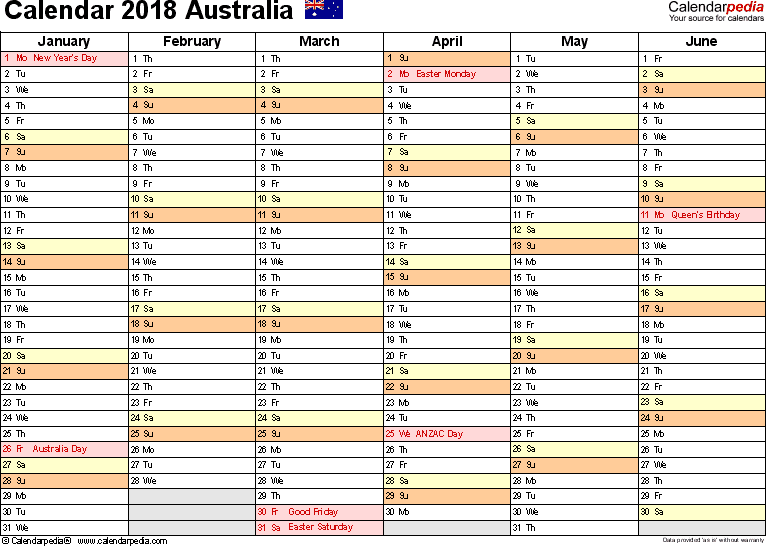 Download Template 3: Calendar 2018 Australia for Microsoft Word (.docx file), landscape, 2 pages, half a year per page