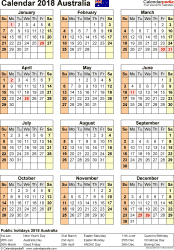 Download Template 16: Calendar 2018 Australia for Microsoft Word (.docx file), portrait, 1 page, year at a glance