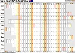 Download Template 7: Calendar 2018 Australia for Microsoft Word (.docx file), landscape, 1 page, linear, days aligned