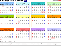 Download Template 8: Calendar 2018 Australia for Microsoft Word (.docx file), landscape, 1 page, year at a glance, multi-coloured