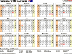 Download Template 9: Calendar 2018 Australia for Microsoft Word (.docx file), landscape, 1 page, year at a glance