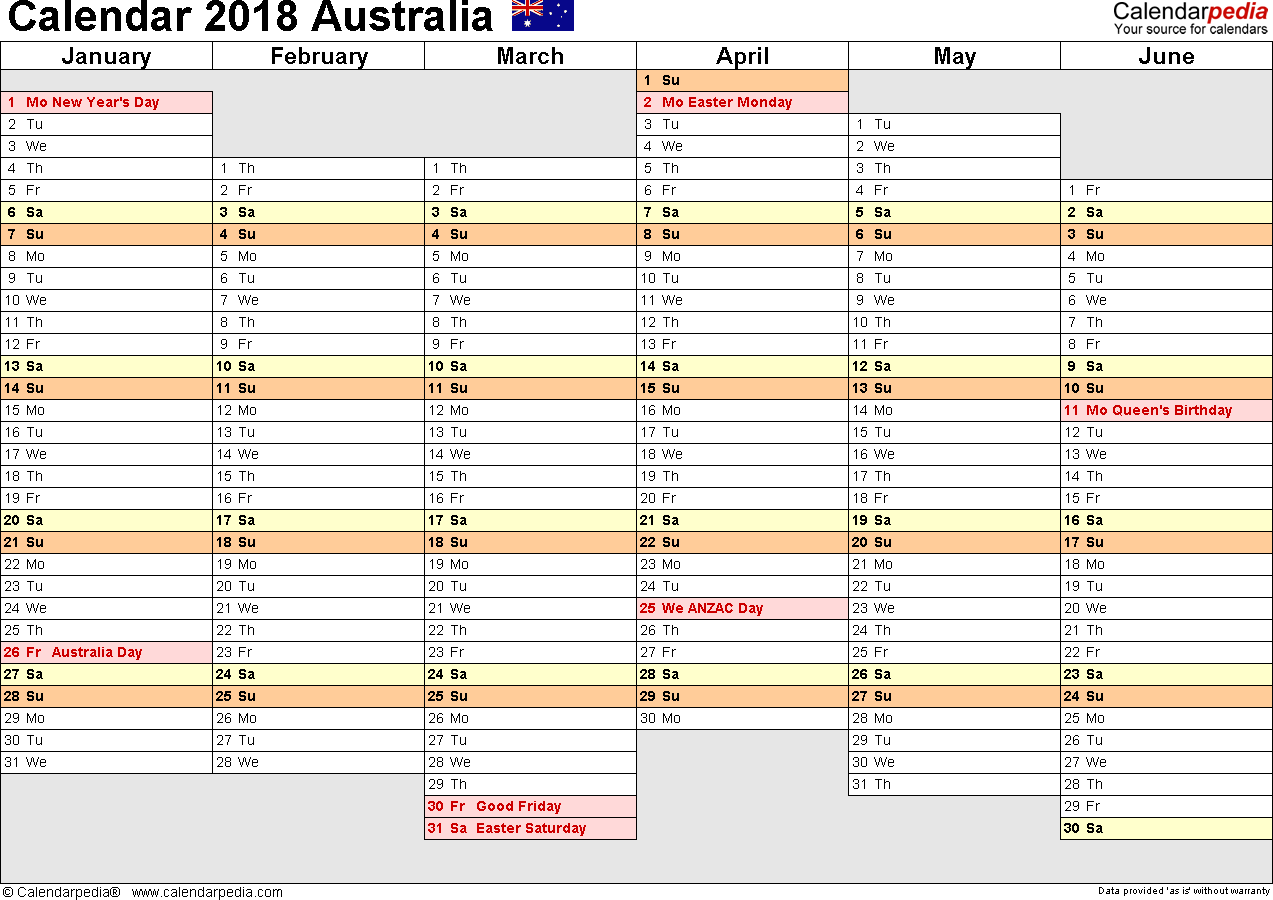Download Template 4: Calendar 2018 Australia for Microsoft Word (.docx file), landscape, 2 pages, days aligned, half a year per page
