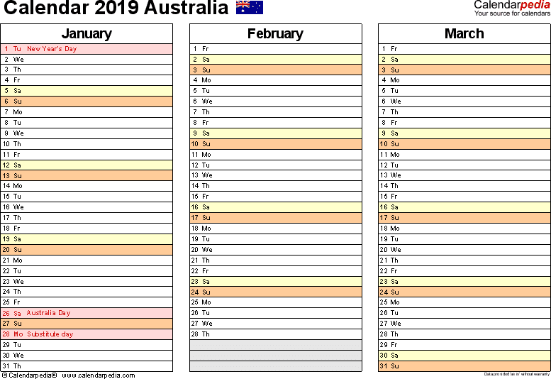 Download Template 5: Calendar 2019 Australia for Microsoft Word (.docx file), landscape, 4 pages, one calendar quarter per page