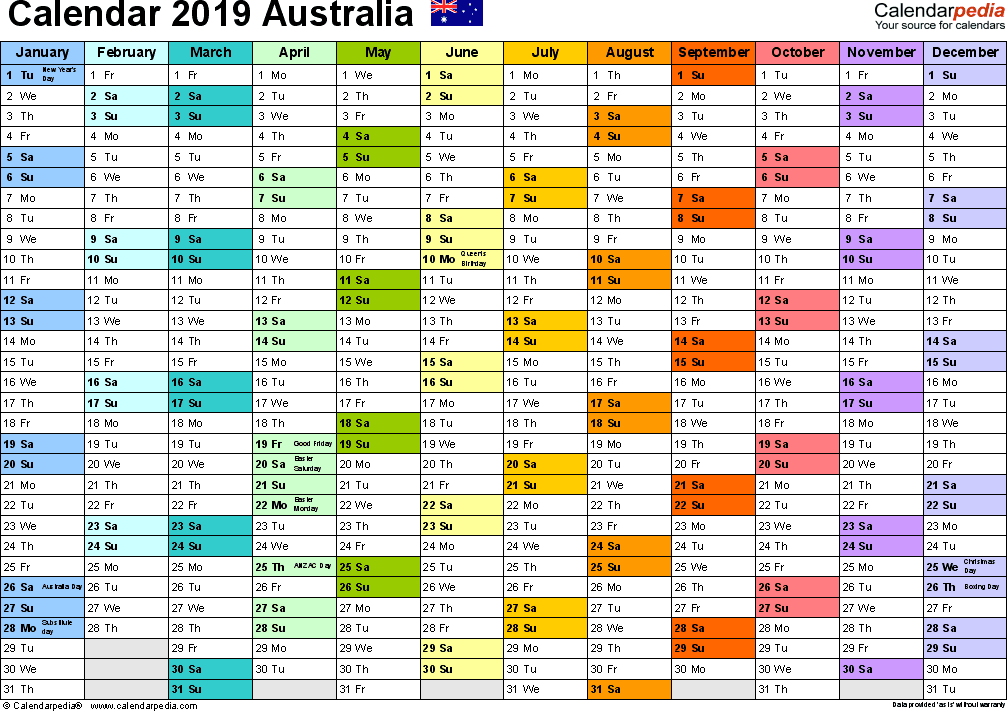 Template 1: 2019 Calendar Australia for Word, 1 page, months horizontally, each month in a different colour, landscape orientation