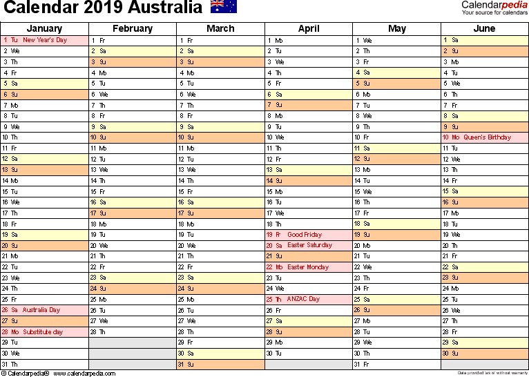 Template 3: 2019 Calendar Australia for PDF, months horizontally, 2 pages, landscape orientation