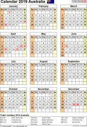 Download Template 17: Calendar 2019 Australia for Microsoft Word (.docx file), portrait, 1 page, year at a glance