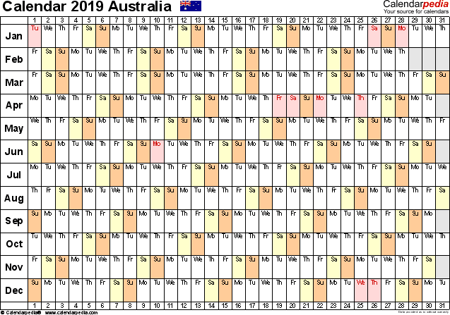 Template 3: 2019 Calendar Australia for PDF, linear (days horizontally), 1 page, landscape orientation