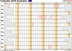 Template 7: 2019 Calendar Australia for Word, linear (days horizontally), 1 page, landscape orientation, days aligned
