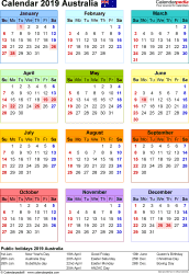 Template 16: Calendar 2019 Australia in PDF format, portrait, 1 page, year at a glance, multi-coloured
