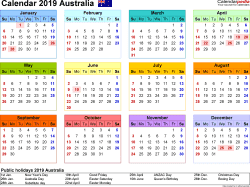 Template 8: Calendar 2019 Australia in PDF format, landscape, 1 page, year at a glance, multi-coloured