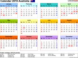 Victorian Calendar 2019 Australia Calendar 2019   free printable Excel templates