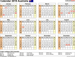 Template 9: Calendar 2019 Australia in PDF format, landscape, 1 page, year at a glance