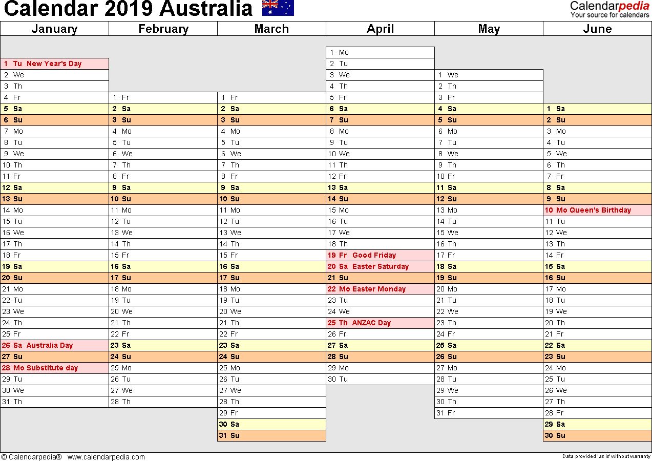 Template 6: 2019 Calendar Australia for Excel, months horizontally, 2 pages, days of the week in line/linear, landscape orientation