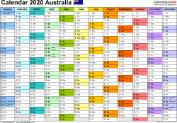 Template 1: 2020 Calendar Australia for PDF, 1 page, months horizontally, each month in a different colour, landscape orientation
