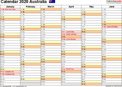 Download Template 3: Calendar 2020 <span style=white-space:nowrap;>Australia for Microsoft Excel (.xlsx file), landscape, 2 pages, half a year per page
