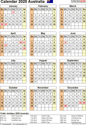 Download Template 18: Calendar 2020 <span style=white-space:nowrap;>Australia for Microsoft Excel (.xlsx file), portrait, 1 page, year at a glance