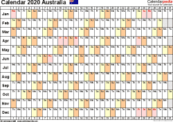 Template 6: 2020 Calendar Australia for PDF, linear (days horizontally), 1 page, landscape orientation