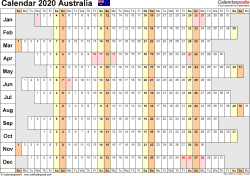 Template 7: 2020 Calendar Australia for PDF, linear (days horizontally), 1 page, landscape orientation, days aligned