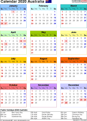 Template 10: 2020 Calendar Australia for Excel, year at a glance, 1 page, in colour, portrait orientation