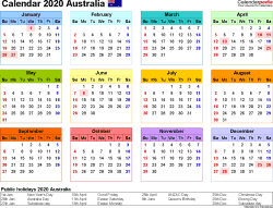 Download Template 8: Calendar 2020 <span style=white-space:nowrap;>Australia for Microsoft Excel (.xlsx file), landscape, 1 page, year at a glance, multi-coloured