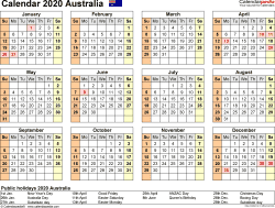 Download Template 9: Calendar 2020 Australia for Microsoft Excel (.xlsx file), landscape, 1 page, year at a glance