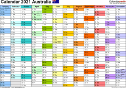 Template 1: 2021 Calendar Australia for PDF, 1 page, months horizontally, each month in a different colour, landscape orientation