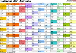 Download Template 1: Calendar 2021 Australia for Microsoft Excel (.xlsx file), landscape, 1 page, multi-coloured