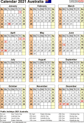 Download Template 26: Calendar 2021 Australia for Microsoft Word (.docx file), portrait, 1 page, year at a glance