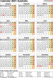 Template 17: 2021 Calendar Australia for Excel, year at a glance, 1 page, portrait orientation