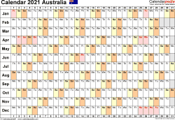 Template 6: 2021 Calendar Australia for PDF, linear (days horizontally), 1 page, landscape orientation