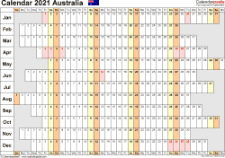 Download Template 20: Calendar 2021 Australia for Microsoft Word (.docx file), landscape, 1 page, linear, days aligned