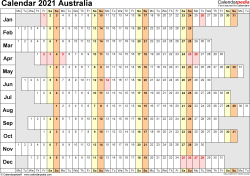 Template 4: 2021 Calendar Australia for PDF, linear (days horizontally), 1 page, landscape orientation, days aligned