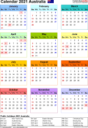 Download Template 25: Calendar 2021 Australia for Microsoft Word (.docx file), portrait, 1 page, year at a glance, multi-coloured