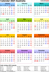 Template 16: 2021 Calendar Australia for Excel, year at a glance, 1 page, in colour, portrait orientation