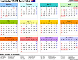 Download Template 21: Calendar 2021 Australia for Microsoft Word (.docx file), landscape, 1 page, year at a glance, multi-coloured