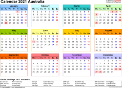 Download Template 8: Calendar 2021 Australia in PDF format, landscape, 1 page, year at a glance, multi-coloured
