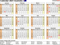 Download Template 22: Calendar 2021 Australia for Microsoft Word (.docx file), landscape, 1 page, year at a glance