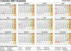 Download Template 9: Calendar 2021 Australia in PDF format, landscape, 1 page, year at a glance