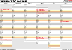 Download Template 4: Calendar 2021 Australia in PDF format, landscape, 2 pages, days aligned, half a year per page