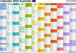 Template 1: 2022 Calendar Australia for Word, 1 page, months horizontally, each month in a different colour, landscape orientation