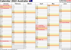 Download Template 3: Calendar 2022 Australia in PDF format, landscape, 2 pages, half a year per page