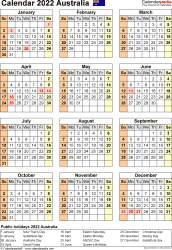 Download Template 26: Calendar 2022 Australia for Microsoft Excel (.xlsx file), portrait, 1 page, year at a glance