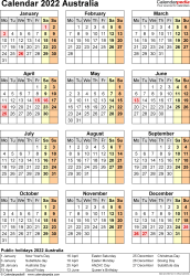 Template 17: 2022 Calendar Australia for Excel, year at a glance, 1 page, portrait orientation