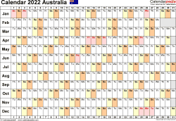 Template 3: 2022 Calendar Australia for PDF, linear (days horizontally), 1 page, landscape orientation
