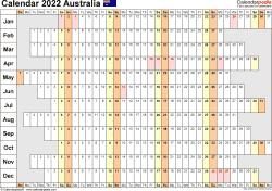 Download Template 20: Calendar 2022 Australia for Microsoft Excel (.xlsx file), landscape, 1 page, linear, days aligned