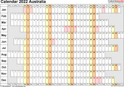 Template 7: 2022 Calendar Australia for Excel, linear (days horizontally), 1 page, landscape orientation, days aligned
