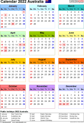 Download Template 25: Calendar 2022 Australia for Microsoft Excel (.xlsx file), portrait, 1 page, year at a glance, multi-coloured