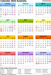 Template 10: 2022 Calendar Australia for PDF, year at a glance, 1 page, in colour, portrait orientation