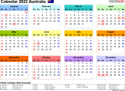 Download Template 21: Calendar 2022 Australia for Microsoft Excel (.xlsx file), landscape, 1 page, year at a glance, multi-coloured