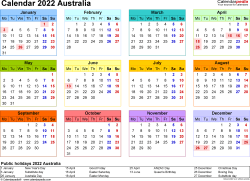 Download Template 8: Calendar 2022 Australia in PDF format, landscape, 1 page, year at a glance, multi-coloured